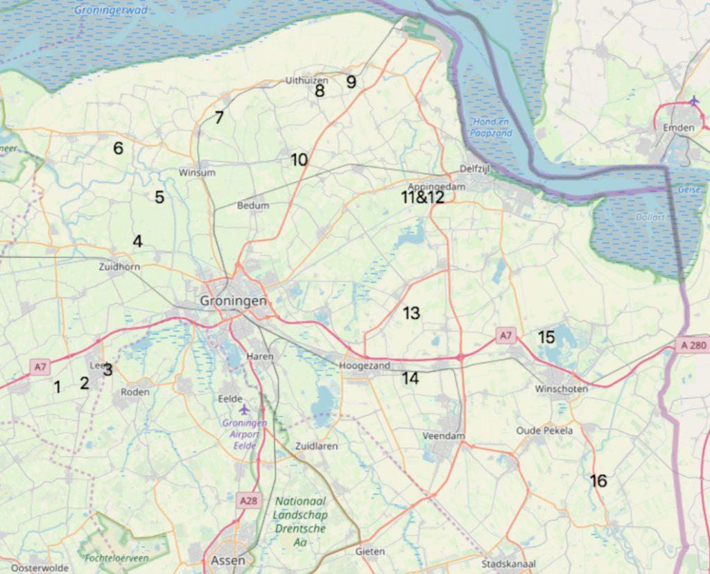 Borgenkaart met 16 borgen waar het Groninger borgenpad langsgaat